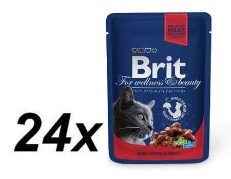 Brit Premium Cat Pouches Macskaeledel, borsós marhapörkölt ízű, 24x100g