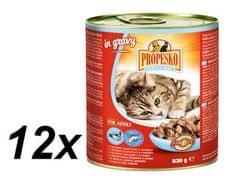 Propesko mokra karma dla kotów - łosoś z pstrągiem w sosie 12 x 830 g
