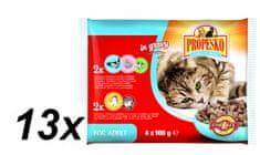 Propesko kapsa kočka kuře a hovězí+losos a krevety 13 x (4 x 100g)