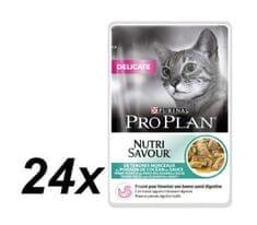 Purina Pro Plan CAT DELICATE, morska riba, 24x85g