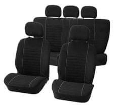 CarPoint Potahy sedadel Velours 9 dílů - černé/šedé