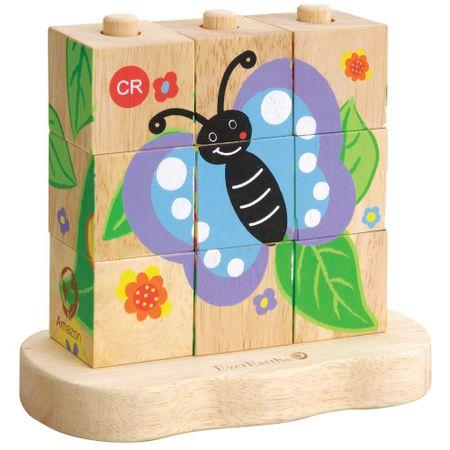EverEarth lesena sestavljanka s kockami metulj, 9 kos