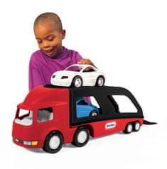 Little Tikes Tahač s návěsem pro přepravu aut - červený