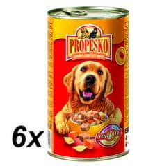 Propesko mokra karma dla psów - kurczak, makaron, marchew - 6 x 1240 g
