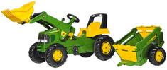 Rolly Toys Šliapací traktor Rolly Junior John Deere s nakladačom a vlečkou