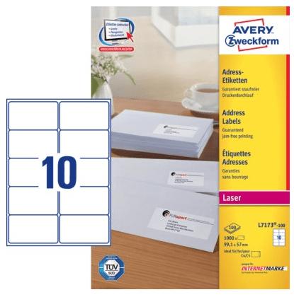 Avery Zweckform etikete L7173-100, 99.1 x 57 mm, bele
