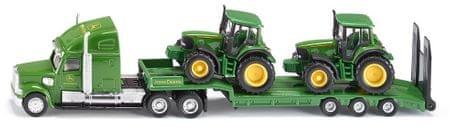 SIKU Farmer: tovornjak vlačilec z dvema traktorjema John Deere, 1:87