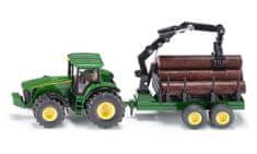 SIKU Farmer - John Deere Traktor erdészeti pótkocsival, 1:50