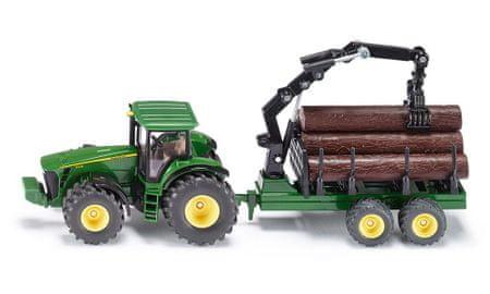 SIKU Farmer - Traktor John Deere s lesním přívěsem 1:50