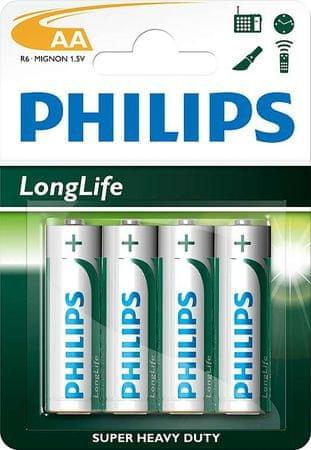 Philips baterije LongLife Blister AA, 4 kosi
