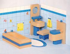 Woody Fürdőszoba babaház kiegészítő