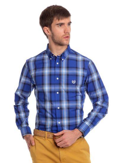 Chaps kostkovaná pánská košile s drobným logem M modrá