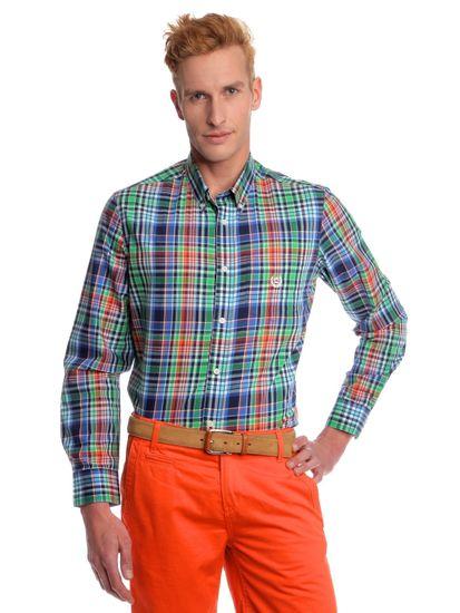 Chaps pánská kostičkovaná košile na knoflíčky M zelená