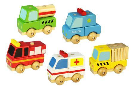 Marionette zestaw 5 samochodzików z drewna