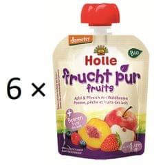 Holle Bio ovocné pyré jablko, broskyňa, lesné plody - 6 × 90g