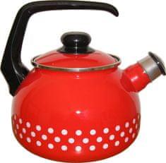 Metalac Čajová kanvica s píšťalkou červená bodkovaná, 2 litre