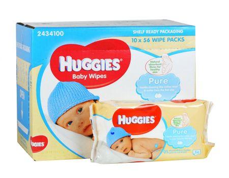 Huggies Pure Nedves törlőkendő, 10x56 db