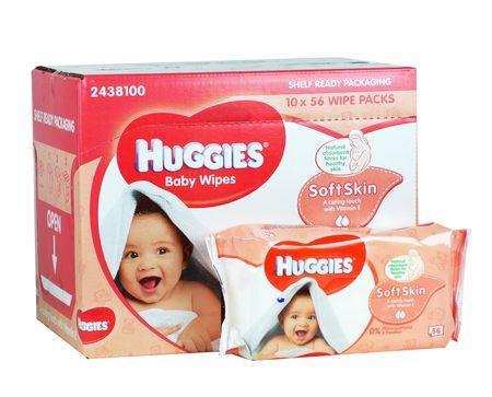Huggies vlažilni robčki Soft Skin, 10 x 56 kosov