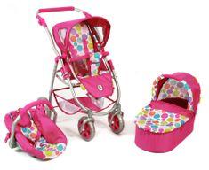 Bayer Chic voziček za lutke EMOTION ALL IN 3 V 1, roza - vinska z zvezdicami - Odprta embalaža