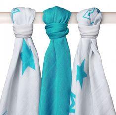 XKKO Bambusové plienky 70x70cm, 3ks - Stars Turquoise Mix