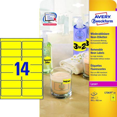 Avery Zweckform etikete L7263Y-25, 99.1 x 38.1 mm