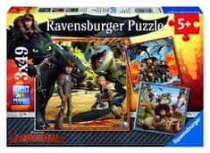 Ravensburger puzzle Kako istrenirati svog zmaja - Dragon Riders, 3x49 dijela