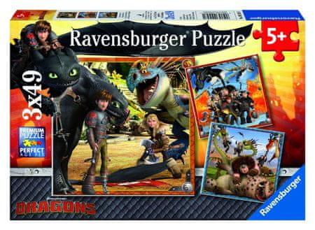 Ravensburger sestavljanka Kako trenirati svojega zmaja - Dragon Riders, 3x49 delov
