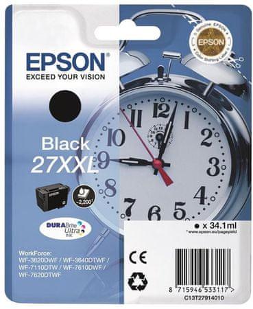 Epson Singlepack 27 XXL DURABrite Ultra Tintapatron, Fekete