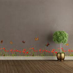 Crearreda dekorativna naljepnica, Mak i leptiri