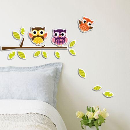 Crearreda dekorativna nalepka, Sovice 3D