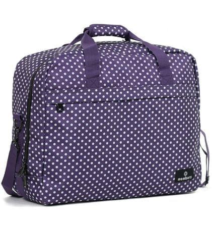 MEMBER´S potovalna torba, 40 l, vijolična z belimi pikami