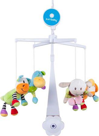 Sun Baby Kolotoč nad postieľku s plyšovými hračkami (krava, myš, ovca, hroch)