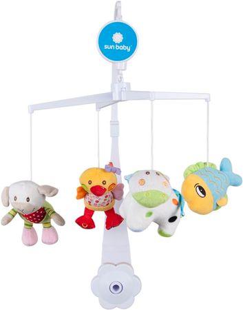 Sun Baby Kolotoč nad postýlku s plyšovými hračkami (ryba, ovce, kráva, kačenka)