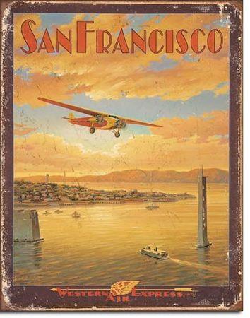 Postershop ukrasna tabla San Francisco (Western Express Air) 40 x 30 cm