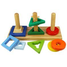 Bigjigs Toys Drevená motorická hračka - Nasaď a otoč