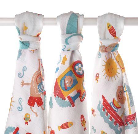 XKKO LUX bavlnené plienky 80x80cm - 3ks, potlač pre chlapcov