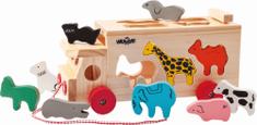 Woody Drewniana ciężarówka ze zwierzątkami do ciągnięcia