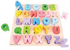 Bigjigs Toys Drevená motorická vzdelávacia hračka - Abeceda veľké písmená