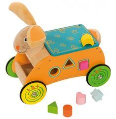 Bigjigs Toys Drevený motorický vozík Zajac