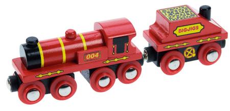 Bigjigs Rail Czerwona lokomotywa z wagonem + 3 tory