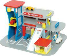 Bigjigs Toys Drewniany garaż na autka