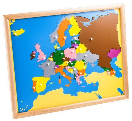 Montessori Puzzle – mapa Európy - rámik z bukového dreva