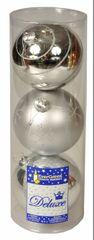 EverGreen Guľa dekor, 2ks lesklé a 1ks matná, priemer 12 cm, strieborná