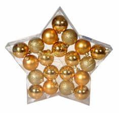 EverGreen Gule 20ks, priemer 6 cm, 3 druhy v balení, zlatá