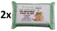 Beaming Baby Organické čistiace obrúsky bez vône, 2 x 72 ks