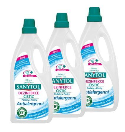 SANYTOL 3 x 1 l antialergénny univerzálny čistič, podlahy