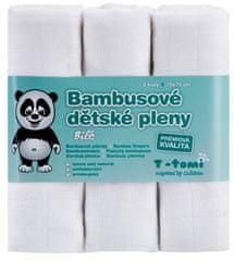 T-tomi Bambusové plienky, sada 3 kusov, biela