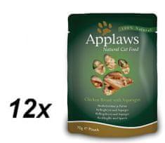 Applaws mokra hrana za mačke, piščančja prsa in šparglji, 12 x 70g