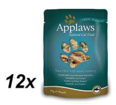 Applaws mokra hrana za mačke, tuna i inćuni, 12 x 70 g
