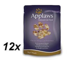 Applaws mokra hrana za mačke s piščančjimi prsmi in divjim rižem, 12x70 g